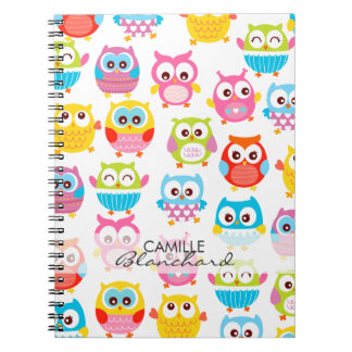 Cute Litte Owls Personalized Spiral Note Books