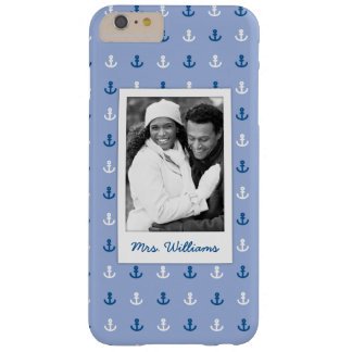 Cute Little Anchor Pattern | Your Photo & Name Barely There iPhone 6 Plus Case