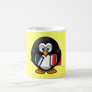 Cute little animated bookworm penguin coffee mug