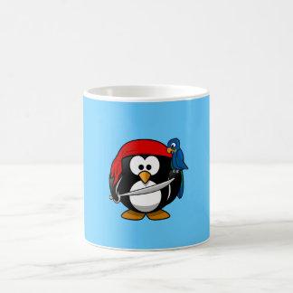 Cute little animated pirate penguin basic white mug