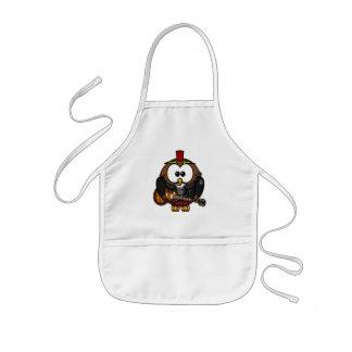 Cute little animated punk, rocker owl apron