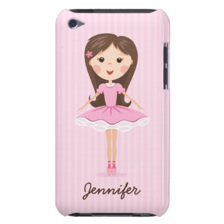 Cute little ballerina cartoon girl personalized barely there iPod cover