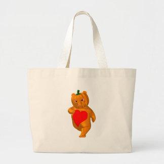 Cute Little Bear With Pumpkin Head Jumbo Tote Bag