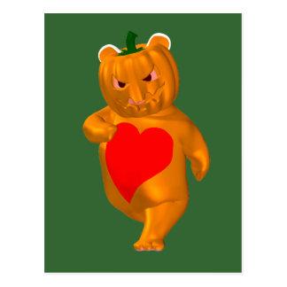 Cute Little Bear With Pumpkin Head Post Card