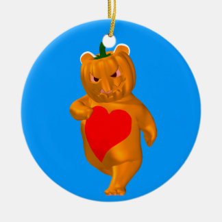 Cute Little Bear With Pumpkin Head Round Ceramic Decoration