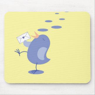 Cute little Bird sending mail Mouse Pad
