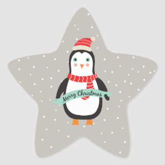 "Cute little Christmas Penguin ""Merry Christmas"" Star Sticker"