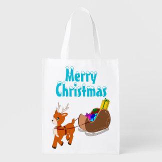 Cute Little Christmas Reindeer Reusable Bag