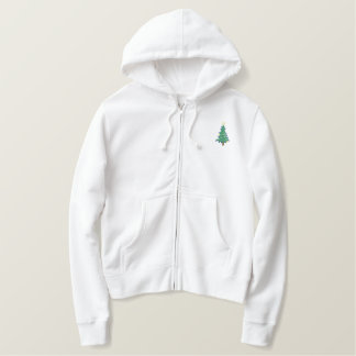 Cute Little Christmas Tree Holiday Embroidered Hoodie