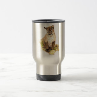 Cute Little Cougar Cub, Animal Nature, Wildlife Stainless Steel Travel Mug