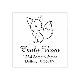 Cute Little Fox Address Rubber Stamp