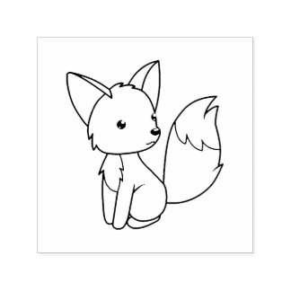 Cute Little Fox Color Me Self-inking Stamp