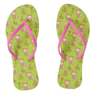 Cute Little Girl And Bunny Vector Design Flip Flop