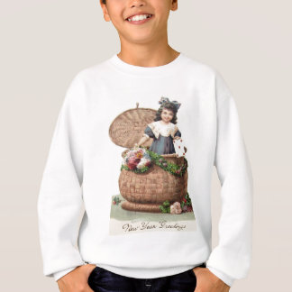 Cute Little Girl Basket Wreath Garland Letter Sweatshirt