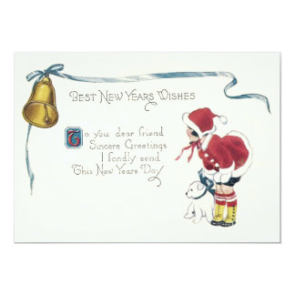 Cute Little Girl Dog Bell 13 Cm X 18 Cm Invitation Card