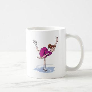 cute little girl figure skater spinning basic white mug