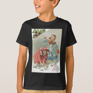 Cute Little Girls Snowball Fight T-Shirt