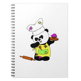 cute little panda is cooking cupcake ` s spiral notebook