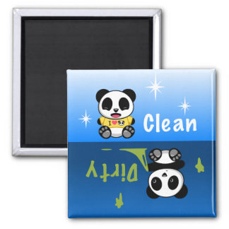 Cute Little Pandas Clean Dirty Square Magnet