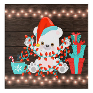 Cute Little Polar Bear with Christmas Lights Acrylic Wall Art
