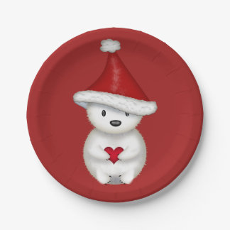 Cute Little Polar Bear with Heart 7 Inch Paper Plate