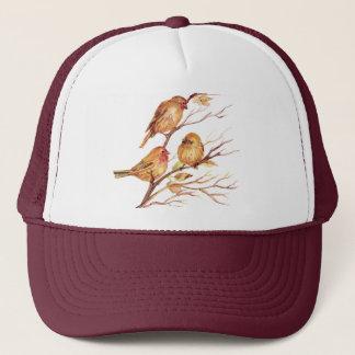 Cute Little Watercolor Sparrow Garden Birds Trucker Hat