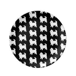 Cute Little Westie - West Highland White Terrier Plate