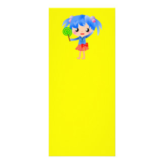 CUTE LOLLIPOP BLUE HAIR GIRL CARTOON HAPPY SWEETHE FULL COLOR RACK CARD