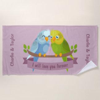 Cute Love Birds custom names beach towel
