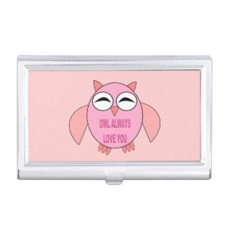 Cute Love Message Owl Business Card Holder