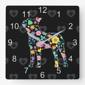 Cute Love My Boston Terrier floral design Square Wall Clock