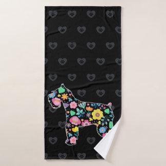 Cute Love My Schnauzer floral design Bath Towel
