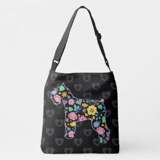 Cute Love My Schnauzer floral design Crossbody Bag