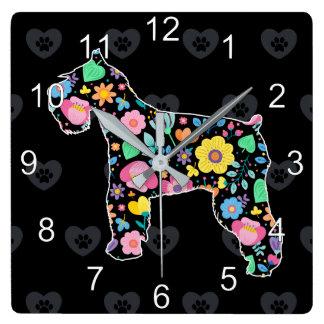 Cute Love My Schnauzer  floral design Square Wall Clock