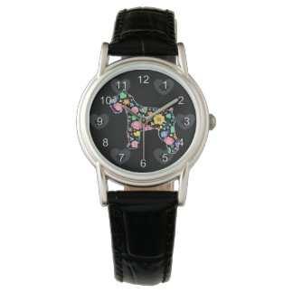 Cute Love My Schnauzer floral design Watch