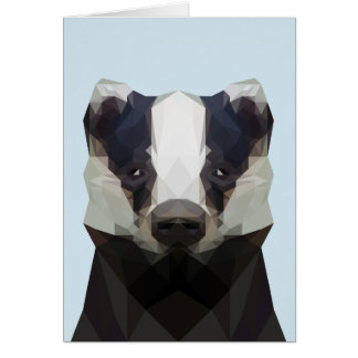 Cute low poly badger note card