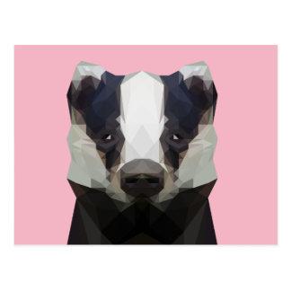 Cute low poly badger postcard