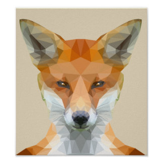 Cute low poly fox poster