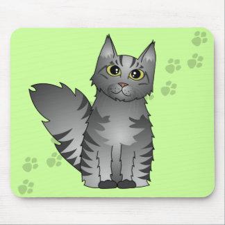 Cute Maine Coon Cat Cartoon - Silver Tabby Mousepad
