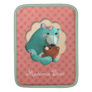Cute Mamma Teddy Bear with her Baby Sleeves For iPads