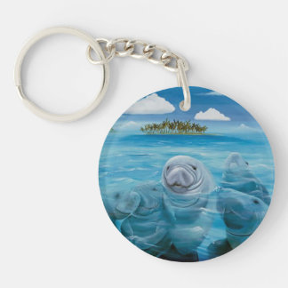Cute Manatee Key Chain Round