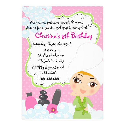 Cute Manicure Spa Birthday Party Invitation