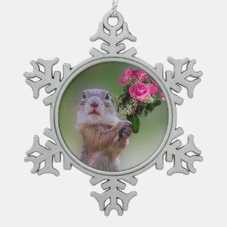 Cute marmot snowflake pewter christmas ornament