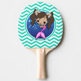 Cute Mermaid; Aqua Green Chevron Ping Pong Paddle