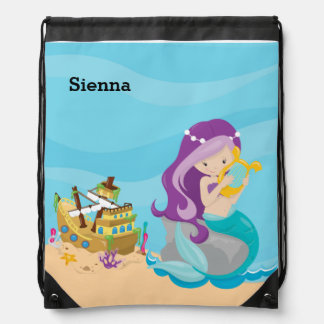 Cute Mermaid Drawstring Bag