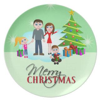 Cute Merry Christmas Xmas Tree Dinner Plates