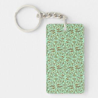 Cute Mint Green and Gold Swirly Vines Pattern Key Ring