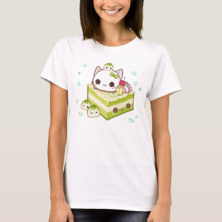 Cute mochi kitty with kawaii green tea cake T-Shirt