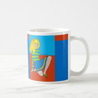 Cute Mod Blonde Fashion Illustration Coffee Cup Basic White Mug