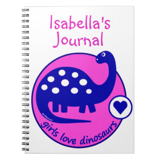 CUTE MODERN BRIGHT GIRLS PINK BLUE DINOSAUR | DINO SPIRAL NOTEBOOK